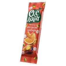Батончик фруктово-ореховый ОлЛайт апельсиновый с имбирём 30г Bionova